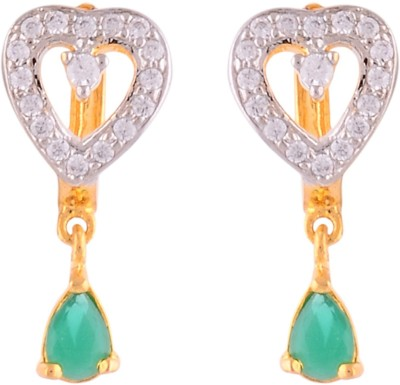 Affinity Jewellers Affinity Heart Shaped Bali With Emerald Green Drop With CZ stones Cubic Zirconia Alloy Drop Earring