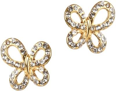 Golden Petals Butterfly Love Cubic Zirconia Alloy Stud Earring