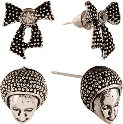 Anokhi Ada Human Face and Bowknot Metal Stud Earring