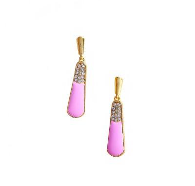 Bezel ME - 2 Golden Pink Alloy Drop Earring
