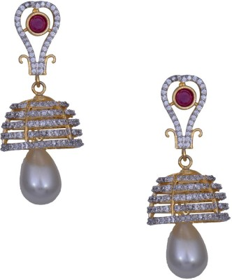 Mahaveer Pearls New Rich Colored Brass Jhumki Earring
