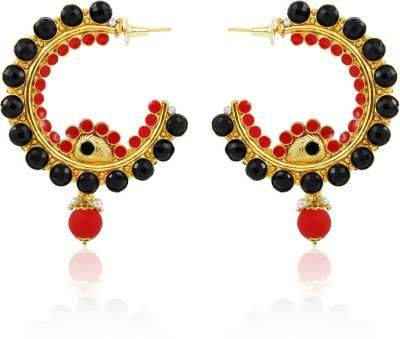 BoBell Phosphorus Red & Black Bali Copper Hoop Earring