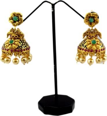Bharat Sales Shining Diva Latest Bollywood Golden polished Cubic Zirconia Alloy Jhumki Earring