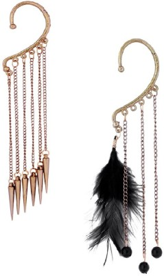 Pankh Feather And Chain Alloy Cuff Earring