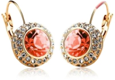 iSweven Boutique Round Crystal Hook Ear For Girls High Quality Material Alloy Silver Golden Alloy Hoop Earring