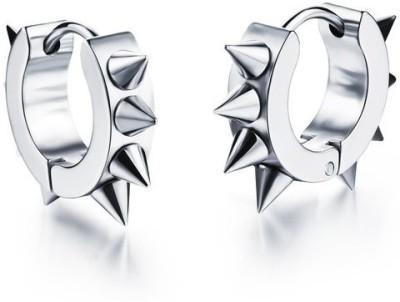 gadgetsden Spike With Silver Rivets 316L Stainless Steel Hoop Earring