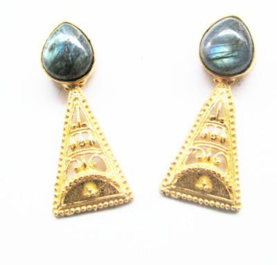 Bhrti semi precious Gold plated Labradorite Brass Stud Earring