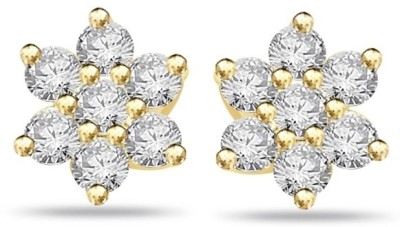 Abhipriya Jewellers Flower Earrings Yellow Gold 14kt Diamond Stud Earring
