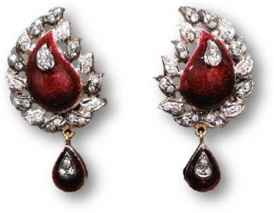 Rajgharana Enamle Gliter Cubic Zirconia Alloy Drop Earring