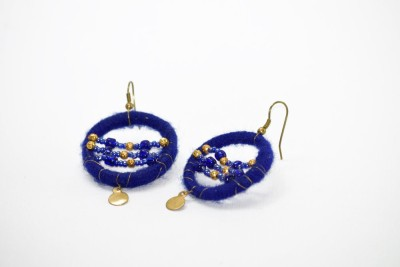 Ba No Batwo Blue Rangakriti Cotton Dori, Plastic Dangle Earring