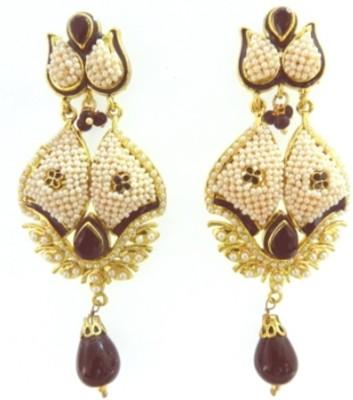 Radhesh Creation Crystal Brass Drop Earring