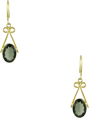 Orniza Victorian Earrings in Grey Color and High Gold Polish Brass Hoop Earring