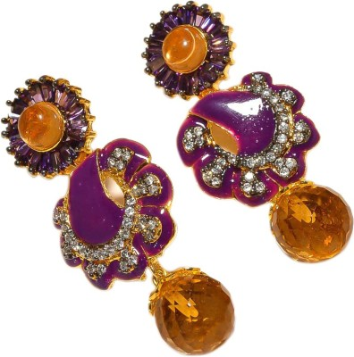 Sanaa Creations Gold plated purple-yellow earring with CZ Alloy Dangle Earring