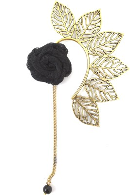 Ammvi Multi Leaves With Black Rose Charm Brass Cuff Earring