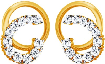 JacknJewel Fashion Circualr Yellow Gold 14kt Diamond Stud Earring