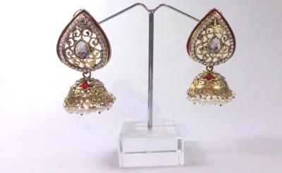 Kaveri Jewellery Pan mennakari White Zircon Copper Jhumki Earring