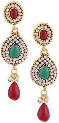 Gold & More Rani Pink & Green Stone Alloy Drop Earring