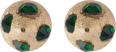 Siyora Classic Green Brass Stud Earring