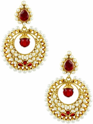 The Art Jewellery Round Shape Rajwadi with in Red Color Brass Drop Earring
