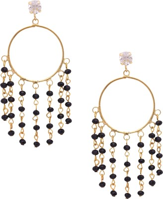 Sankisho Black Statement Metal, Alloy, Glass Hoop Earring