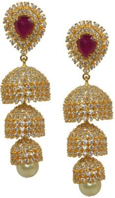 Kaumudi Golden Designer White, Pink Color Steps Alloy Jhumki Earring