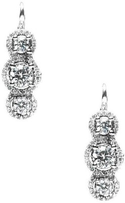 LeCalla Solitaire Magnificence Rhodium Sterling Silver Dangle Earring