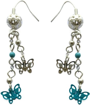 Fabula Silver & Turquoise Butterfly Bead Traditional Ethnic Jewellery Drop for Women, Girls & Ladies Metal Dangle Earring