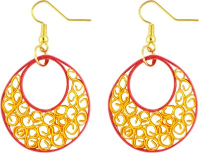 Trendmania Red and yellow round paper quilled earrings Paper Dangle Earring