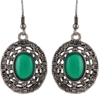 Anamis Antique look oval shape green colour -Traditional cum fashionable AMFJEP011 Aluminum Dangle Earring
