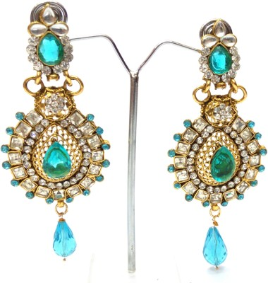 Womaniya Kundan Blue Heaven Alloy Drop Earring
