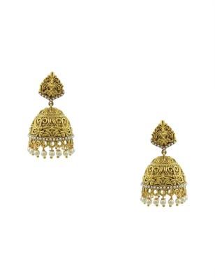 Orniza Polki Jhumki Earrings in Pearl Color Brass Jhumki Earring at flipkart