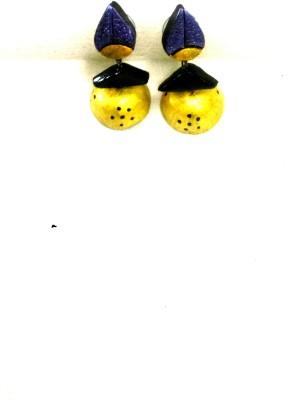 sri sakthi terracotta yellow&violet Fabric Jhumki Earring