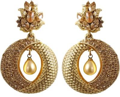 Hotpiper Elegant Golden Cubic Zirconia, Pearl Alloy Chandbali Earring
