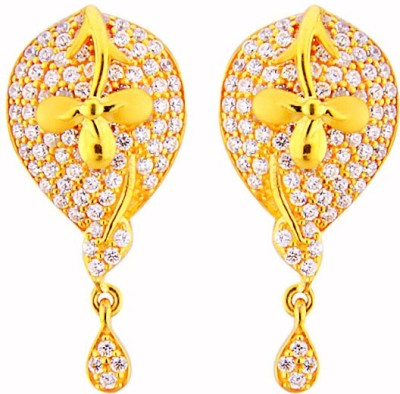 JPearls Charming Cubic Zirconia Gold Drop Earring