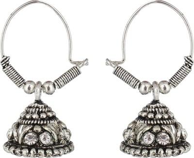 The Gallery Silver Oxidized Zircon Alloy Jhumki Earring