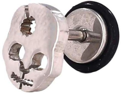 Little Goa Empty Face Skull Silver Metal Body Piercing - 8 mm Metal Plug Earring