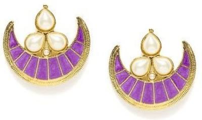 the jewelbox Crescent Chaand Pearl Copper Chandbali Earring
