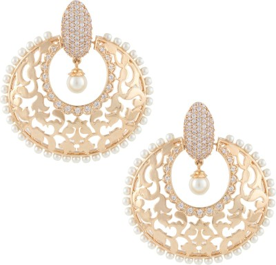 Beautiart Dull Gold Pearl Filigree Cubic Zirconia Alloy Chandbali Earring