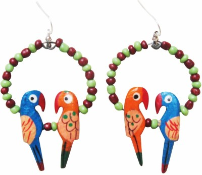 Juhi Malhotra Blue And Orange Love Bird Wood Drop Earring
