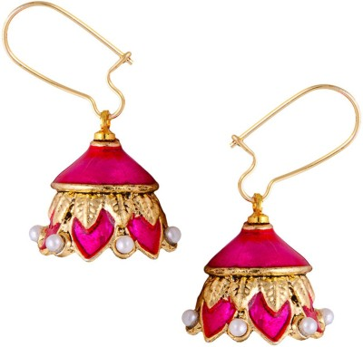 Mahaveer Pearls Pink Colour Polish With Pearls Pearl Brass Jhumki Earring