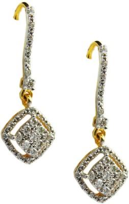 Abhipriya Jewellers Dangling Cluster Earrings Yellow Gold 18kt Diamond Dangle Earring