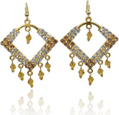 Jaipur Mart Golden and Silver Crystal Studded Designer Brass Chandelier Earring