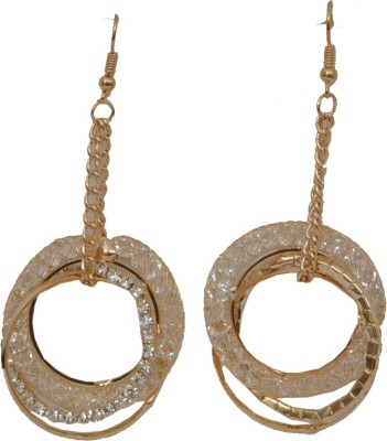 WoW Double Gold Tone Mesh Crystal Dangle Earring