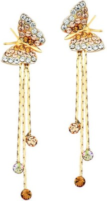 Yellow Chimes Butterfly and Strings Cubic Zirconia Alloy Drop Earring