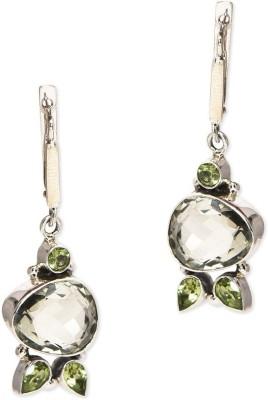 Watch Me Crystal Mosaic Earrings-Green Sterling Silver Dangle Earring