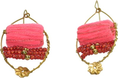 Ba No Batwo Fluorescent Pink Rangakriti Earrings Cotton Dori, Plastic Dangle Earring