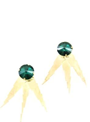 Ornamas Brass, Stone, Resin Stud Earring