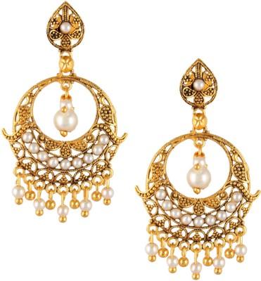 Fashionaya China Pearl Brass Drop Earring