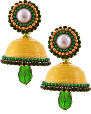 Jaipur Raga Hancrafted Single Stud Yellow Jhumka Brass Jhumki Earring