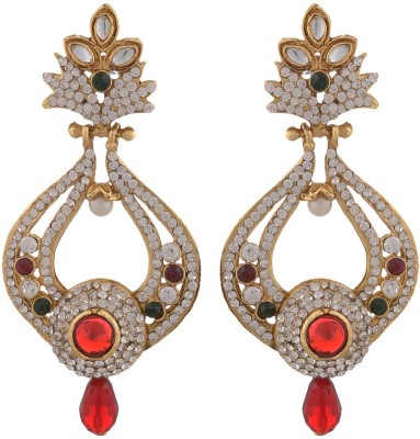 Blacksmith Red Drop Crystal Metal Drop Earring
